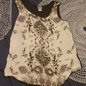 Floral black and white pattern flowy tank, sheer